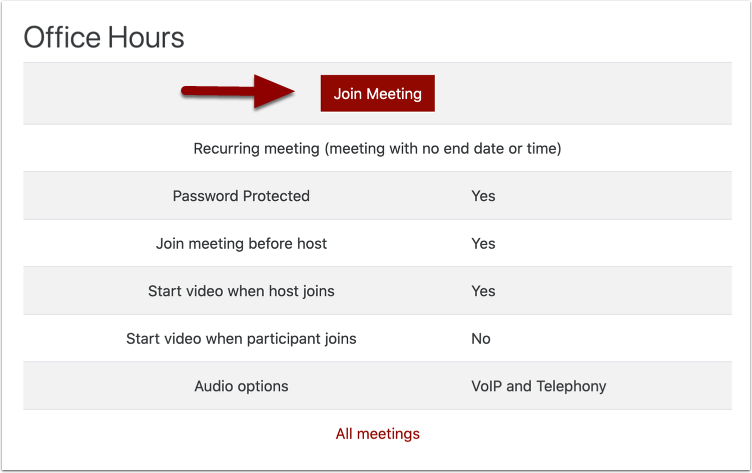 Moodle Zoom meeting page - student view