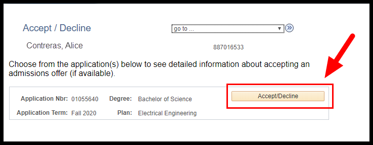 Arrow pointing to Accept/Decline button