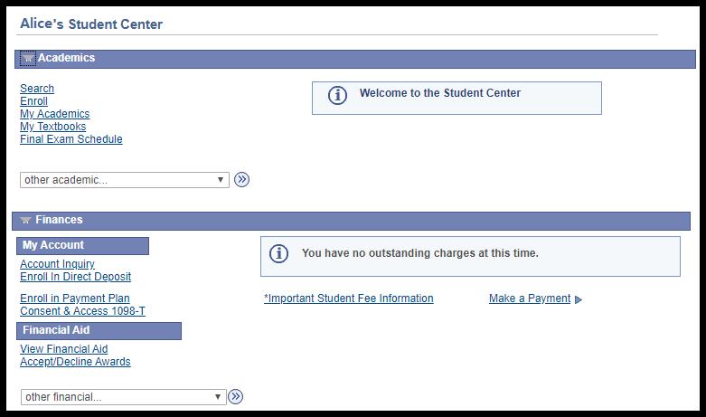 Student Center Dashboard