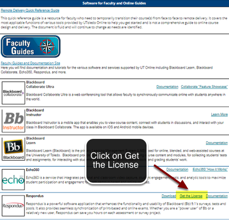 Image of the box labeled software with the link labeled Get the License highlighted in yellow under Respondus with an arrow pointing to it, with a text bubble reading click on Get the License.