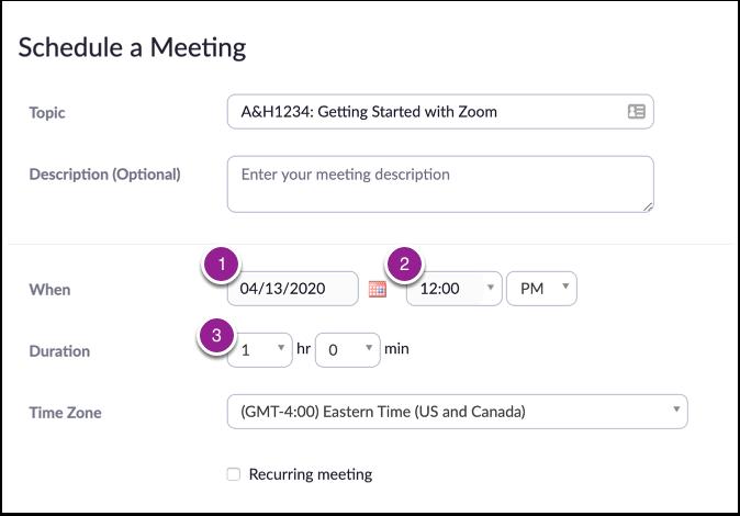 Schedule a Meeting - Zoom