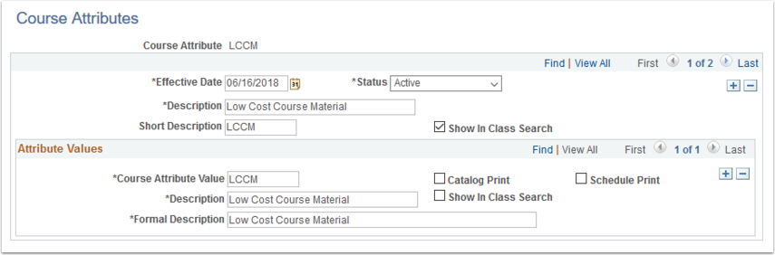 Course Attributes page