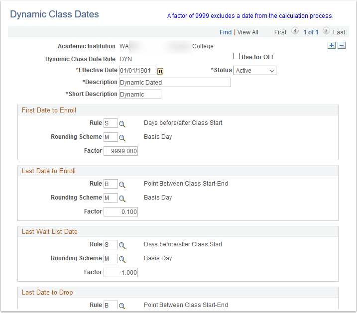 Dynamic Class Dates page