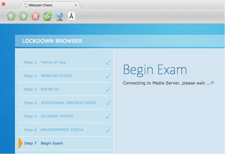 screen shot of error on webcam check in respondus monitor