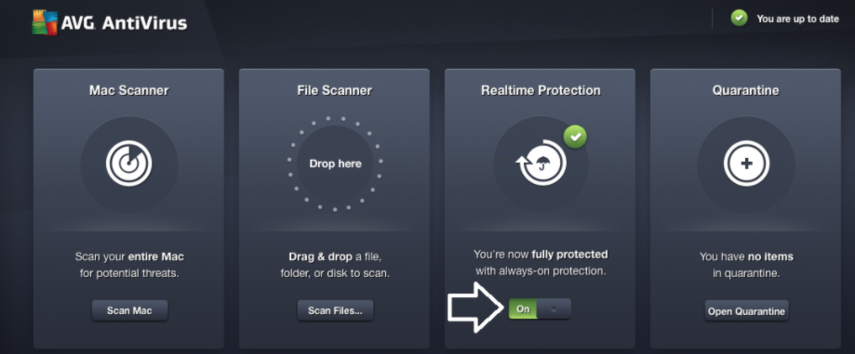 "AVG antivirus window with realtime protection clicked on (needs to be clicked to ""off"")"