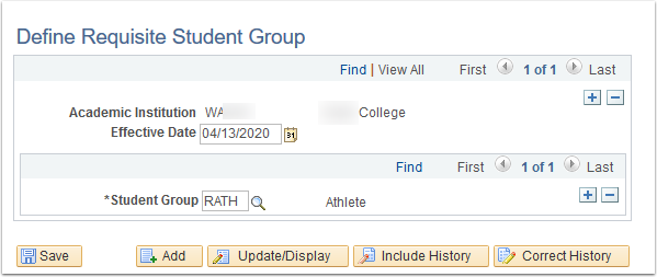 Define Requisite Student Group page