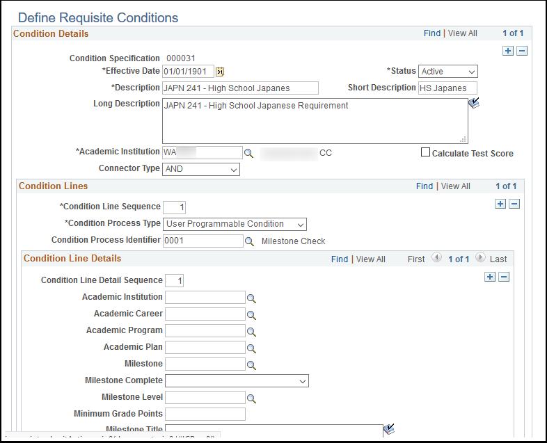 Define Requisite Conditions page