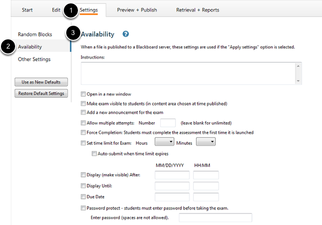 Setting up Availability Settings
