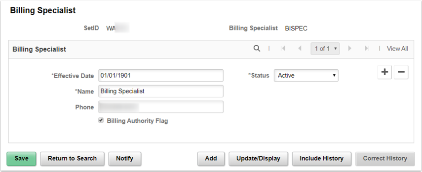 Billing Specialist Roles Page Example