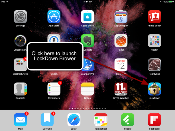 Using LockDown Browser on the iPad
