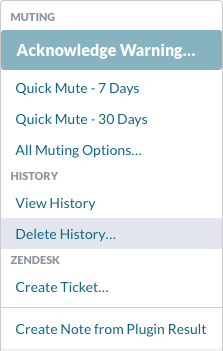 Actions menu > Delete History…