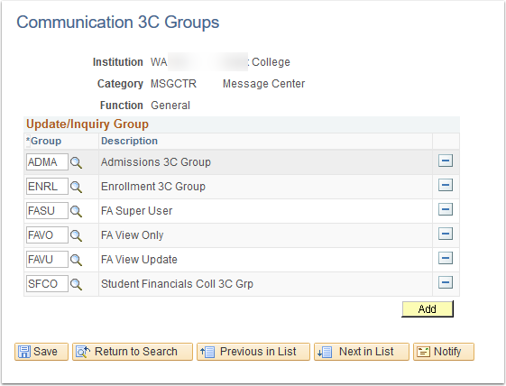 Communication 3C Groups page
