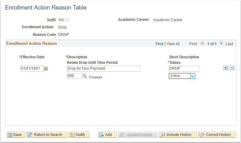 Enrollment Action Reason Table page