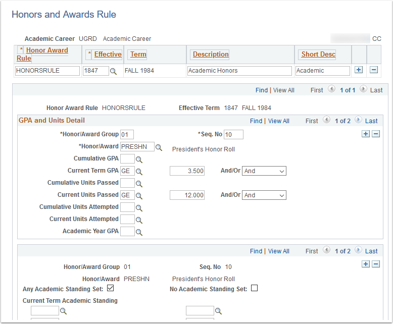 Honors and Awards Rule page