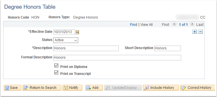 Degree Honors Table page