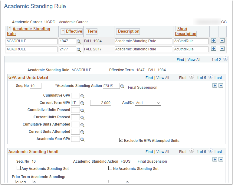 Academic Standing Rule page