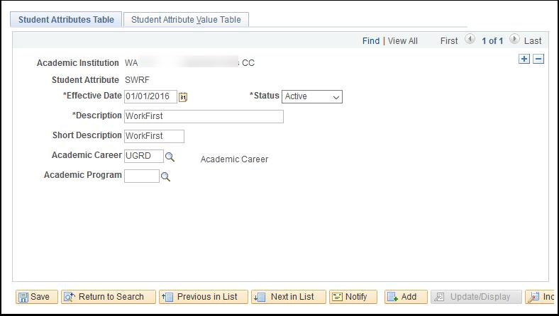 Student Attributes Table tab