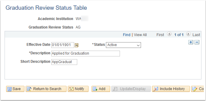 Graduation Review Status Table page