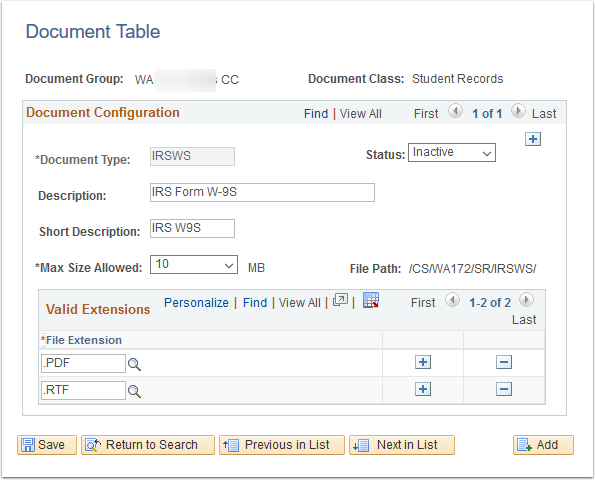 Document Table page