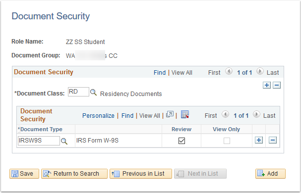Document Security page
