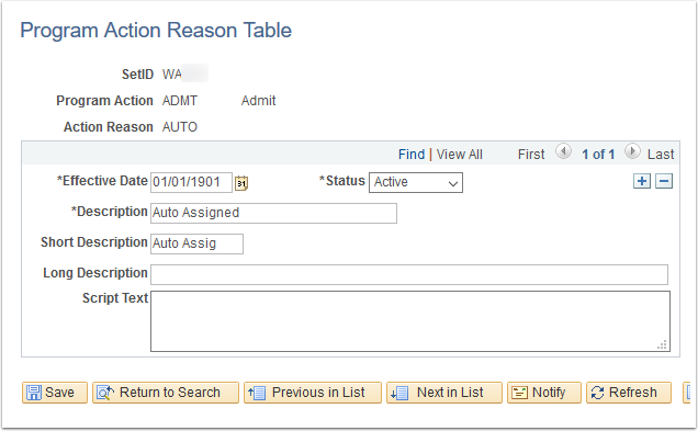 Program Action Reason Table page