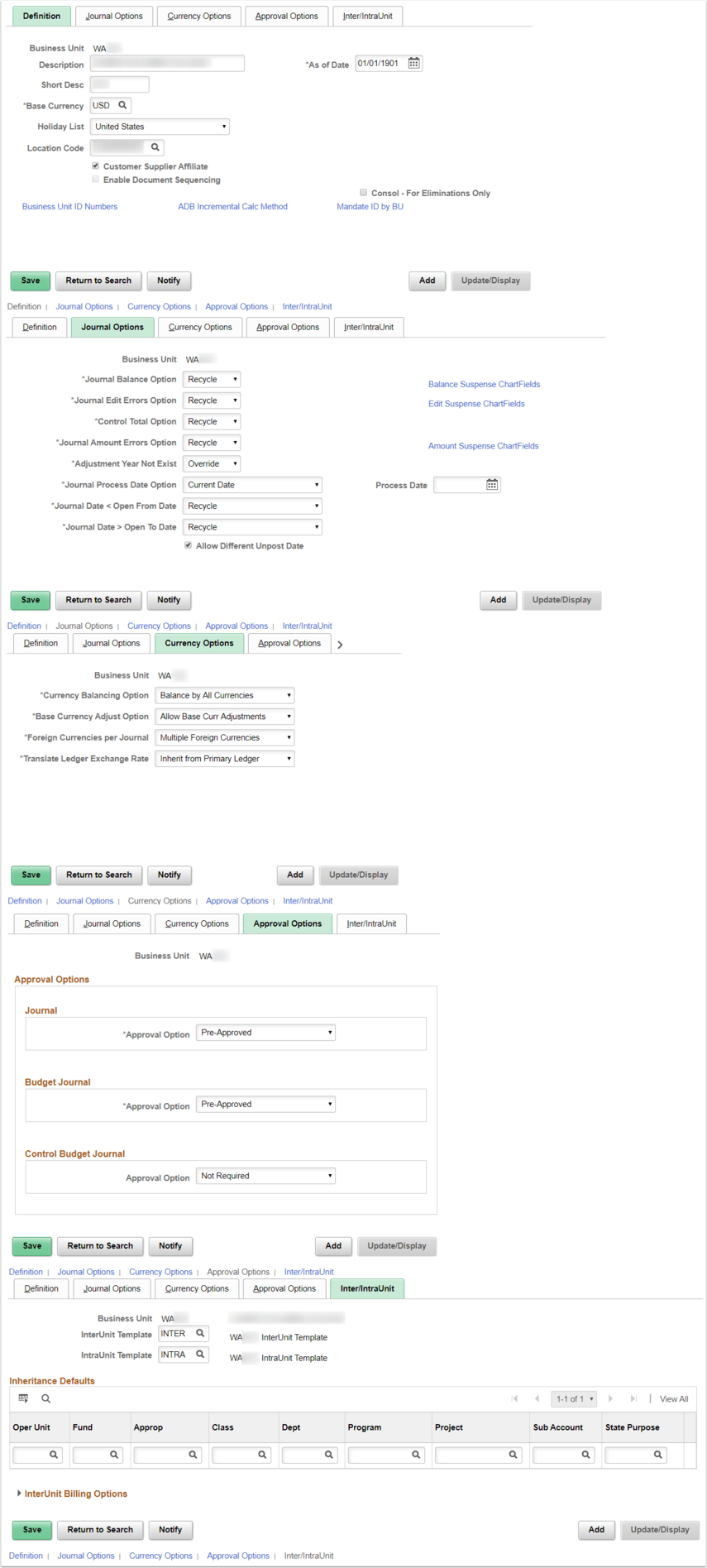 General Ledger Definition Page Example