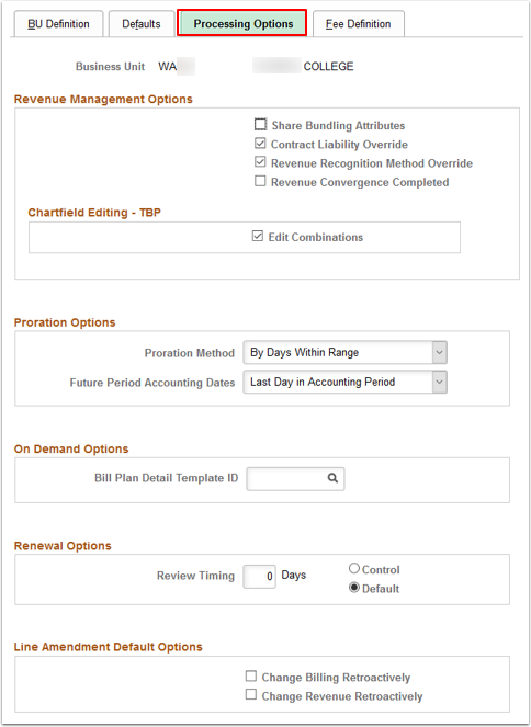 Processing Options tab