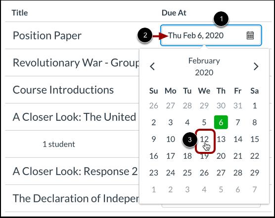 Edit Assignment Dates