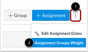 Open Assignment Groups Weights Settings