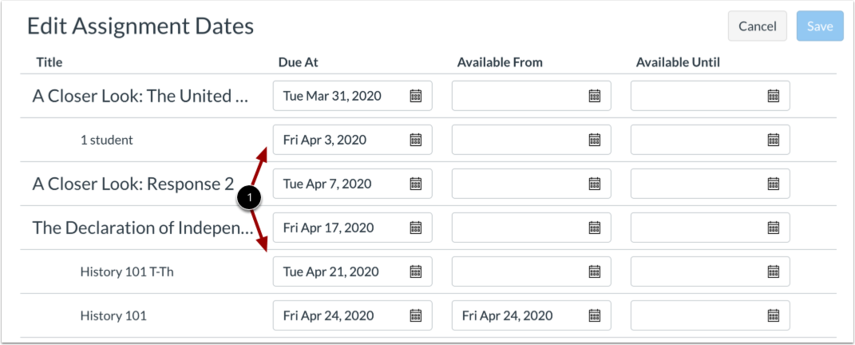 View Edit Assignment Dates Page