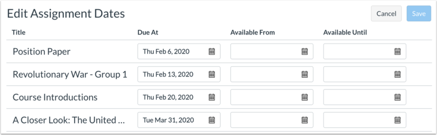 Bulk Updating Assignment Due and Availability Dates