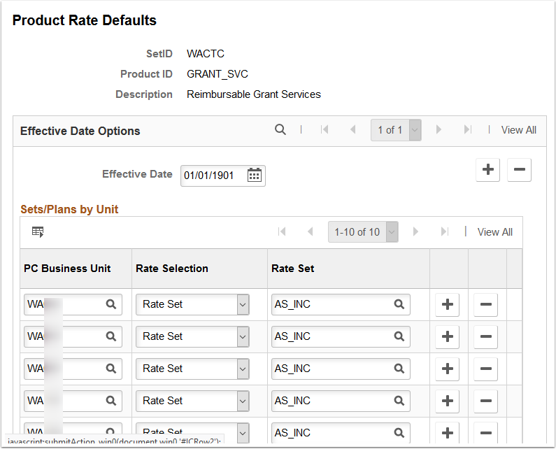 Product Rate Defaults page