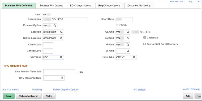 Business Unit Definition tab
