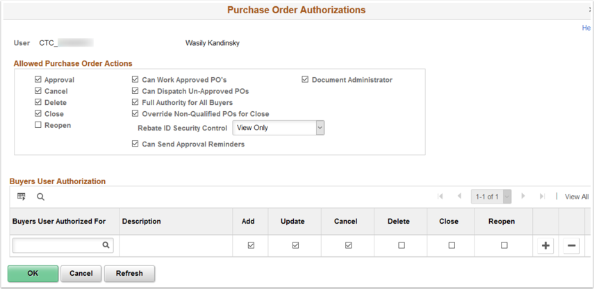 Purchase Order Authorizations page