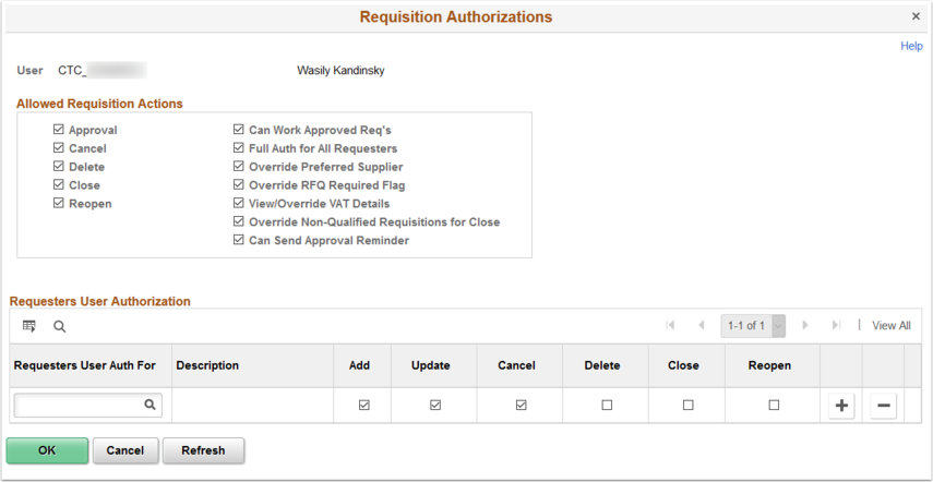 Requisition Authorizations page