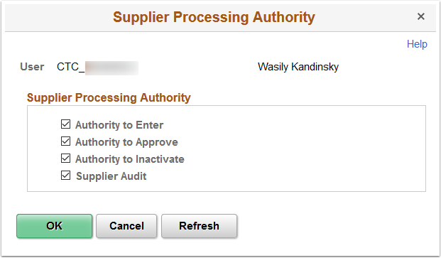 Supplier Processing Authority page