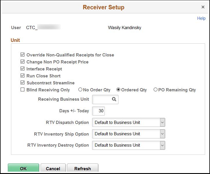 Receiver Setup page