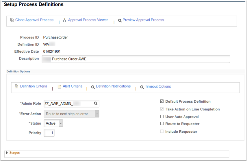 Setup Process Definitions page