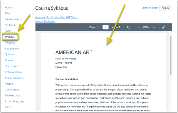 Syllabus for Demo Institutional Access - American Art