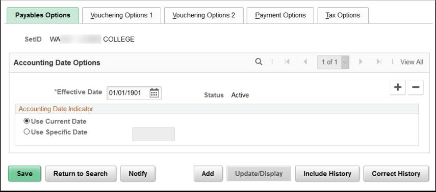 Payables Options tab