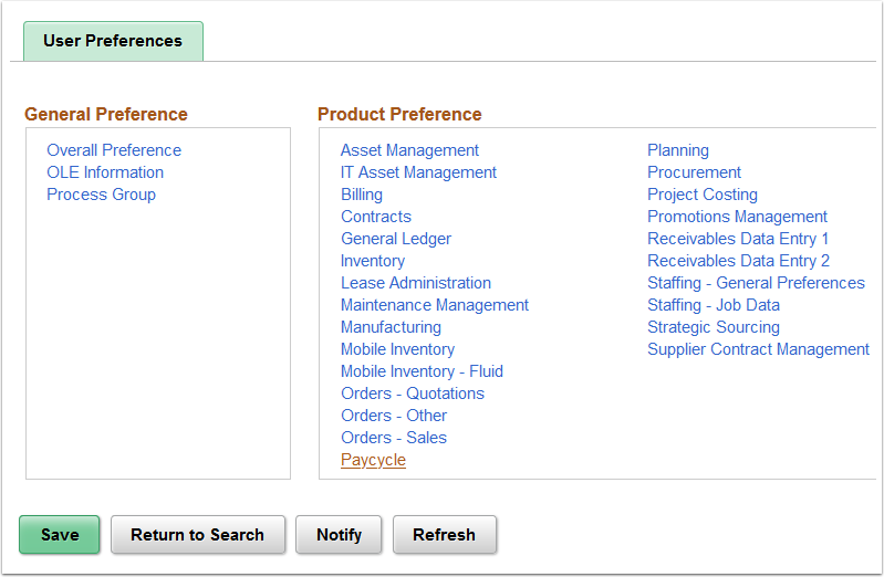 User Preferences page