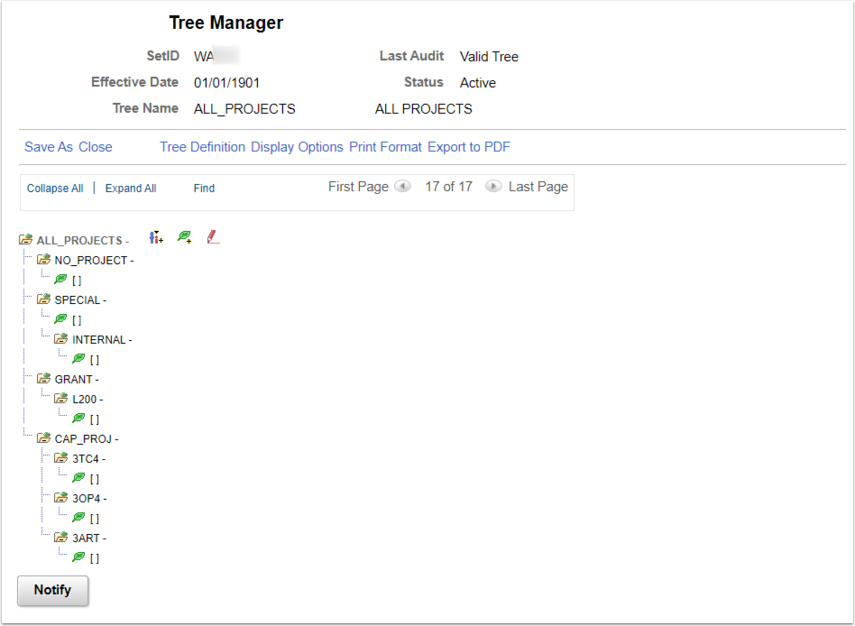 Tree Manager Page Example