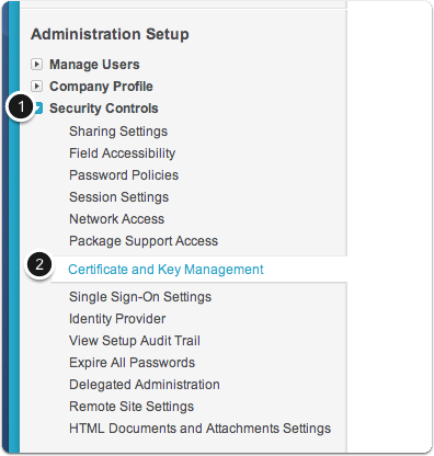 Select Security Controls > Certificate and Key Management