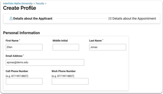 Enter Personal Information of applicant