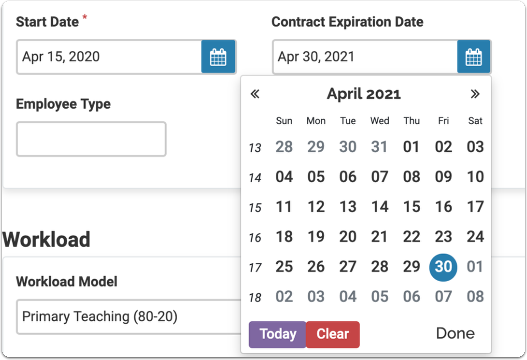Select the Start Date and Contract Expiration Date of the appointment.