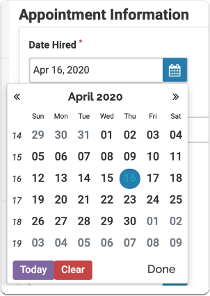 Select the date hired