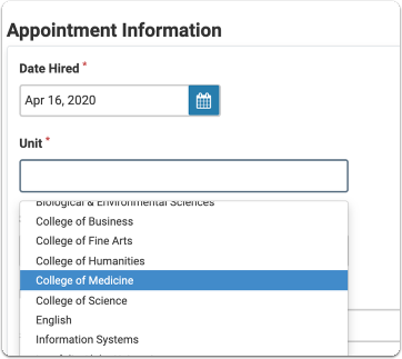 Select the Unit of the applicant's appointment from a dropdown list.