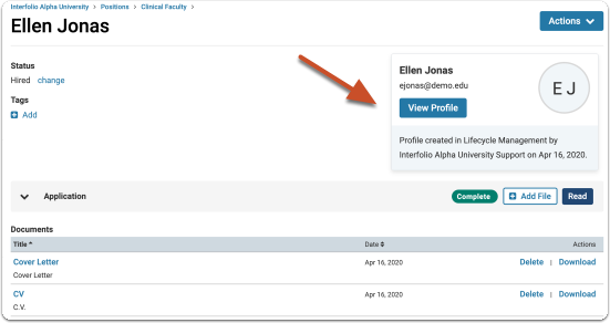 A link to the new profile will appear in Faculty Search