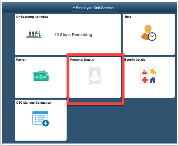 Employee Self Service home page