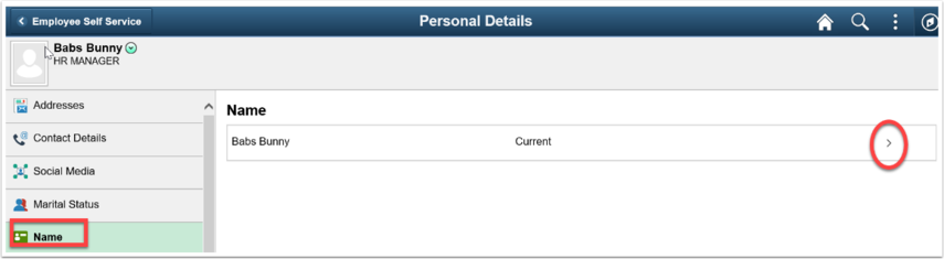 Personal Details page